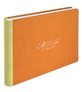 Livre de mariage en cuir couleur orange de la marqe Graphistudio