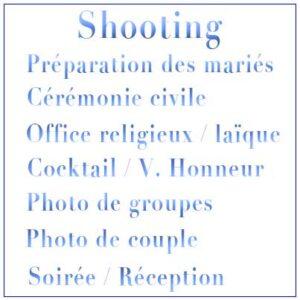 Shooting Mariage sur une journée